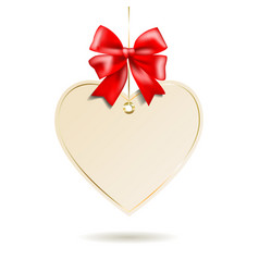 Heart shape frame with red bow hanging on white vector image vector image