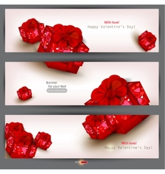 set of three banners with red gifts valentines day vector image