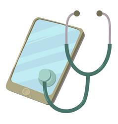 Smartphone diagnostic icon cartoon style vector