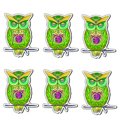 sticker with bright colorful owls vector image