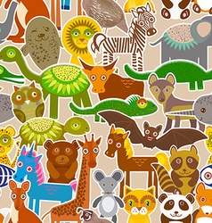 collection Funny cartoon Animals seamless pattern vector image