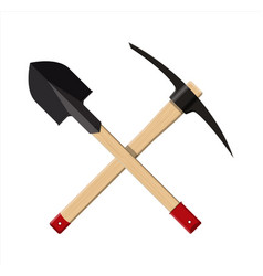 crossed shovel and pickaxe vector image vector image