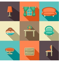 Flat icons with household objects vector image vector image