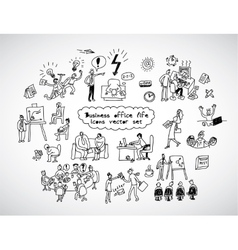 Office life black lines icons set business people vector image