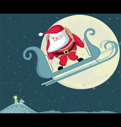 santa with parachute in moon background separate l vector image vector image