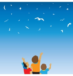 Children and birds in the sky vector image vector image