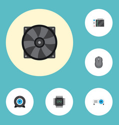 Flat icons web cam presentation cooler and other vector