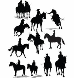 horse riders vector image