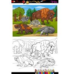 mammals animals cartoon coloring book vector image vector image