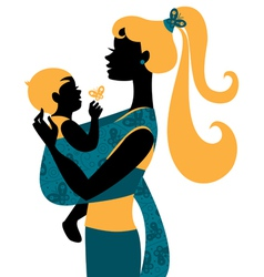 mother silhouette with baby vector image