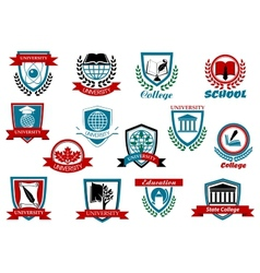 School university or college emblems and symbols vector image vector image