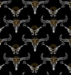 Seamless pattern background longhorn skull and vector image vector image