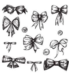 Set of bows hand drawn vector image vector image