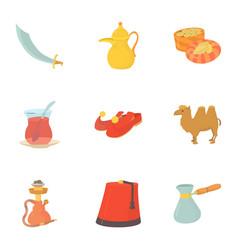 turkey celebration icons set cartoon style vector image