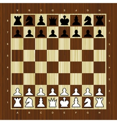 Wooden chess board with pieces vector image vector image