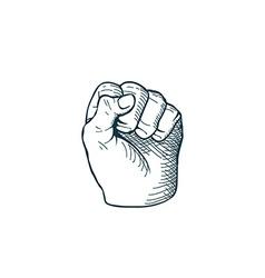 Hand drawn sketch vintage fist vector image vector image