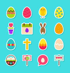 Happy easter stickers vector
