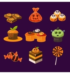 Set of colorful halloween sweets and candies vector