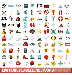 100 hobby excellence icons set flat style vector