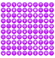100 sport journalist icons set purple vector image