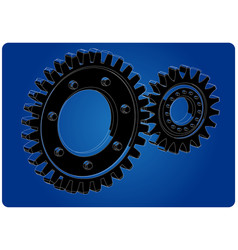3d model of gears on a blue vector image