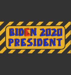 a plate with a 3d inscription biden 2020 vector image