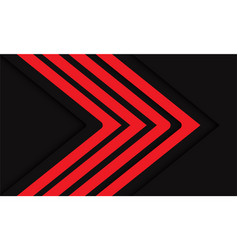 Abstract red arrow lines direction on dark grey vector