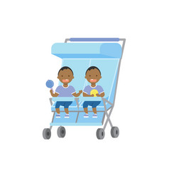 african baby with toys twins double blue stroller vector image