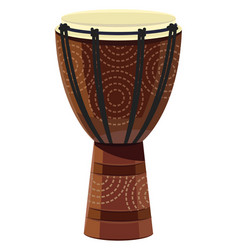 African drum musical instrument isolated on white vector