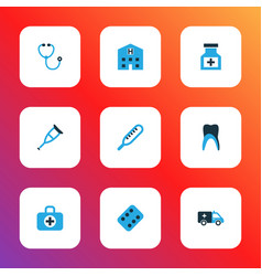 antibiotic icons colored set with remedy vector image