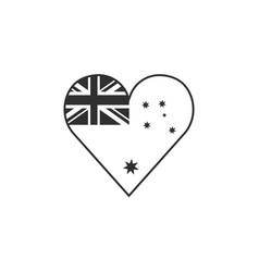 australia flag icon in a heart shape in black vector image