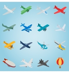 Aviation set icons isometric 3d style vector image