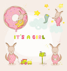 baby girl kangaroo set - baby shower cards vector image