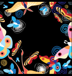 Background multicolored butterflies vector