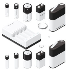 Battery and battery charger isometric icon set vector image