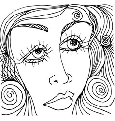 Beautiful woman face sketch vector