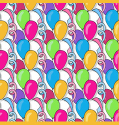 Birthday seamless pattern with colorful balloons vector