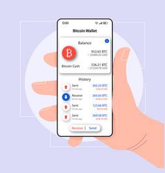 Bitcoin balance wallet smartphone interface vector