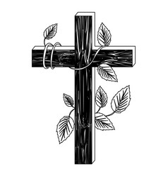 black silhouette of wooden cross and creeper plant vector image