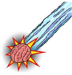 brain meteor intelligence human mind vector image