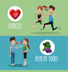 brochure exercise food healthy vector image