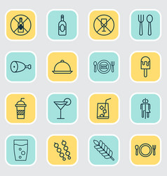 Cafe icons set collection of hooch wheat vector