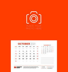 Calendar for october 2021 week starts on sunday vector