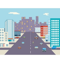 car ride driving city street background flat vector image