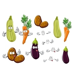 Cartoon eggplant carrots potatoes and zucchini vector image
