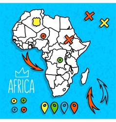 Cartoon style africa travel map with pins vector