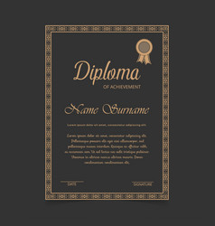 Certificate template with golden designe borders vector