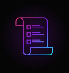 Checklist or survey colored outline icon or vector