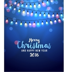 Christmas card with lights vector