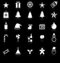 Christmas icons with reflect on black background vector image